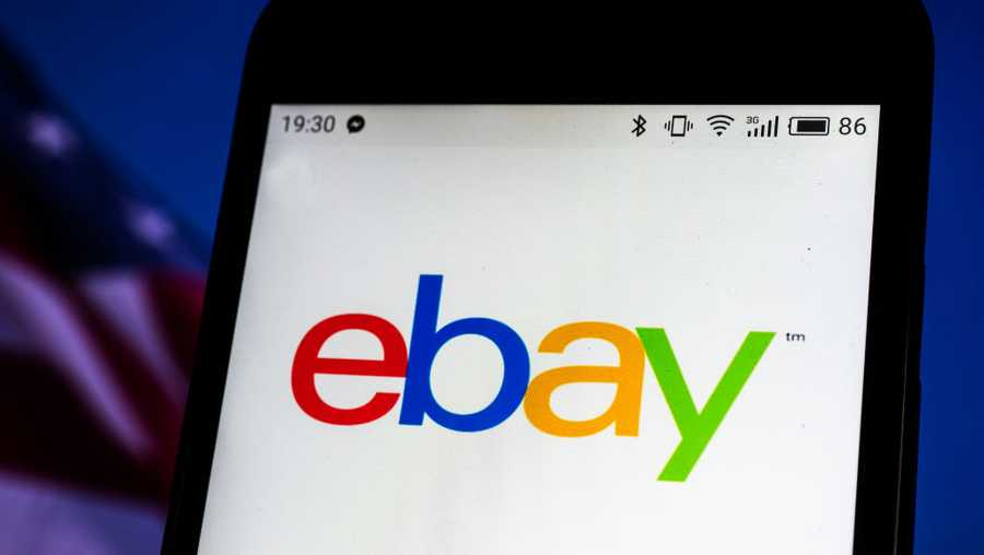 eBay company logo seen displayed on a smart phone...