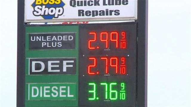 Gas prices dropped below $3 in the Des Moines area on Sunday.