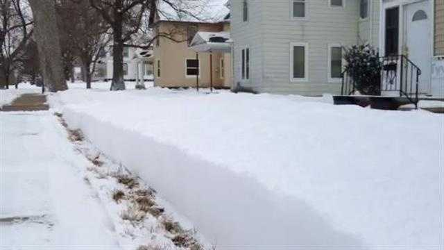 Manning received 10 inches of snow from the Sunday-Monday storm in Iowa.