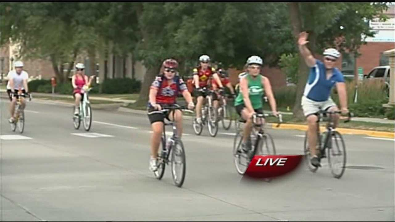 Kristyna Engdahl goes live in Council Bluffs to cover the beginning of the RAGBRAI event.