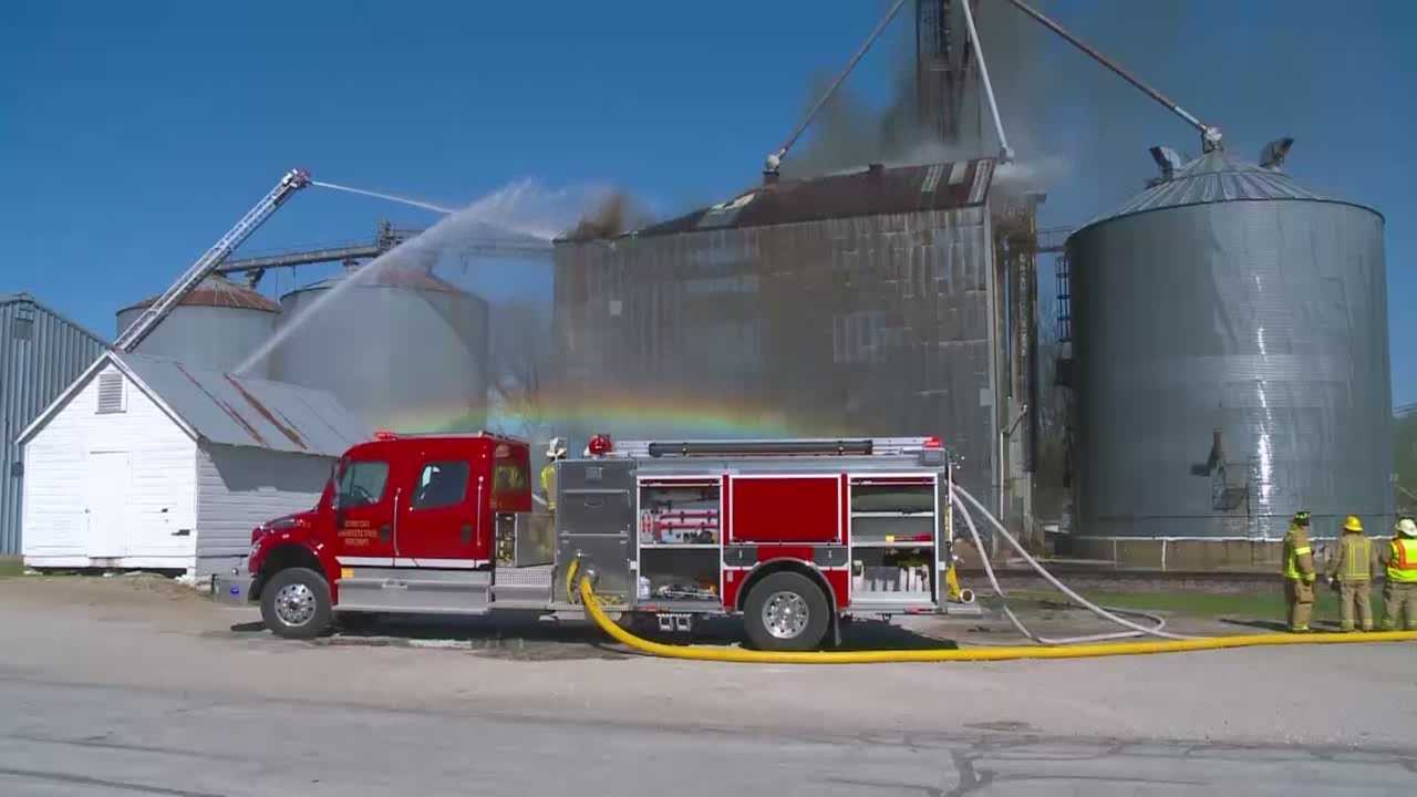 Firefighters were called to  a grain elevator fire in Gilbert Wednesday afternoon, and were still at the scene Thursday morning.