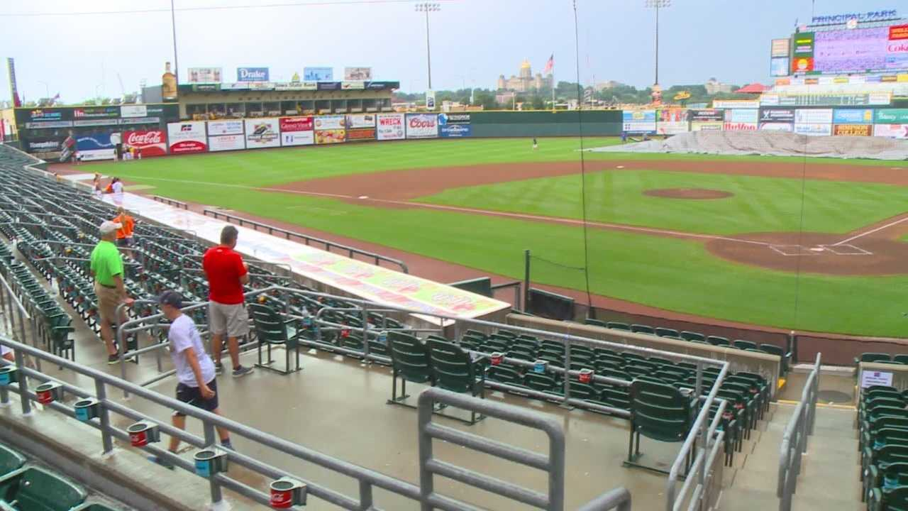 A major rain delay at Principal Park brought the Iowa High School State Baseball Tournament to a grinding, soggy halt Monday.