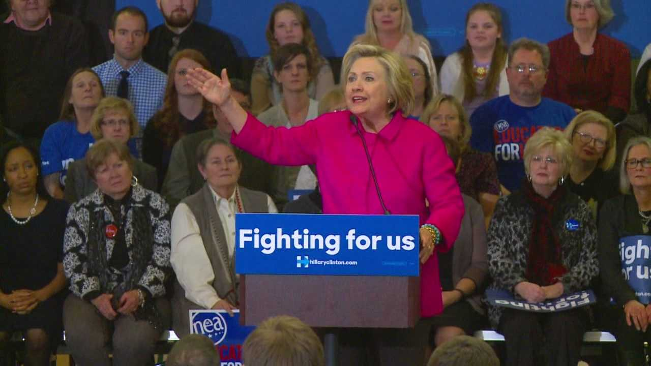 Hillary Clinton praised the president's new gun control efforts and rallied supporters Monday night in Des Moines.