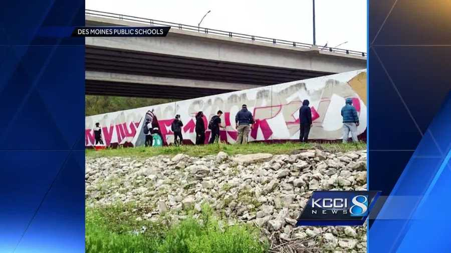 Des Moines city workers have ruined a 200-foot long, city-approved mural created by students.