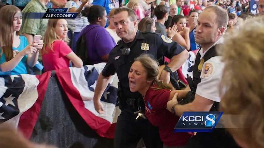 Secret service agents rushed in after Chicago resident Kelsey Atkinson tried rushing the stage during the rally.
