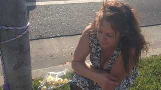 Diane Hill, whose son was struck and killed by a truck in Elk Grove, is back at the scene Tuesday.