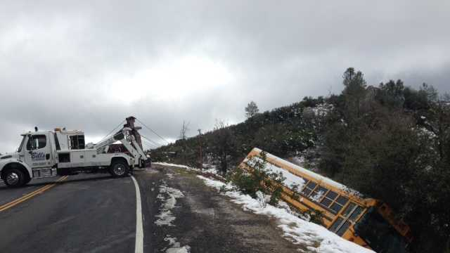 More than two dozen vehicles were stranded or involved in accidents Tuesday night and early Wednesday morning because of the storm that dumped 6 inches of snow in the Sonora area.