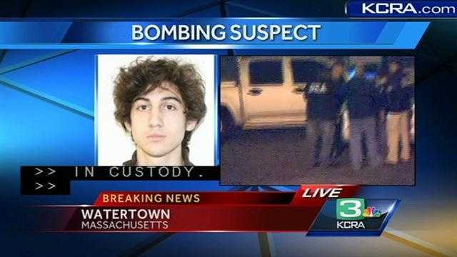 KCRA's David Bienick receives confirmation that the second Boston Marathon bombing suspect is in custody.