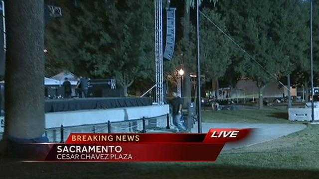Thousands of people were at Cesar Chavez Plaza in downtown Sacramento when an eathquake struck Thursday night.