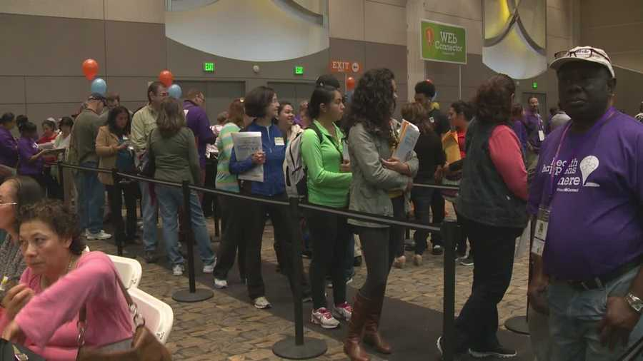 Uninsured people showed up to the Sacramento Convention Center to learn about their options for the new Affordable Health Care Act.