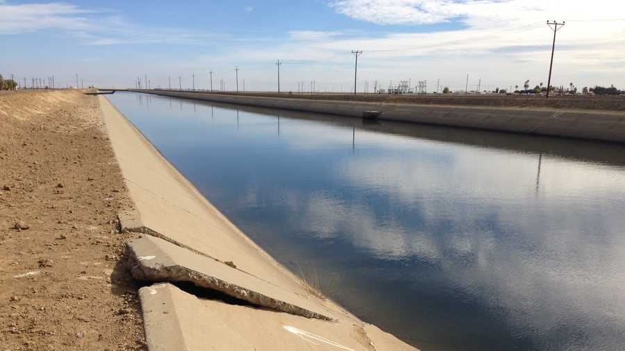 Sinking land has damaged the lining of canals in the Central Valley.
