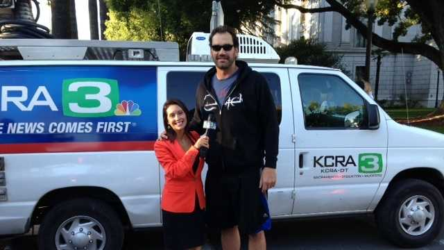 22.) According to the viewers I meet, I'm shorter than I look on TV. I'm 5 foot 3, but my photographers apparently do a really good job of making me look 6-feet tall. Here's a picture of me with former Sacramento Kings player Scot Pollard. He is 6-11.