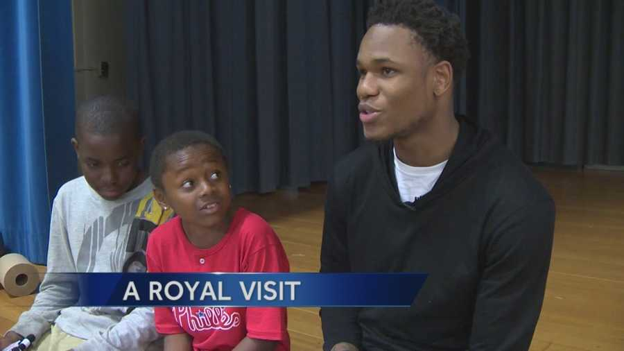 After the Sacramento Kings finished practice Tuesday, guard Ben McLemore made a royal visit to Dyer-Kelly Elementary School -- all because one of the students asked him to. McLemore fielded questions from fifth-graders after a request from student Jayshawn Love, who attended the athlete's 21st birthday party at Chick-fil-A.