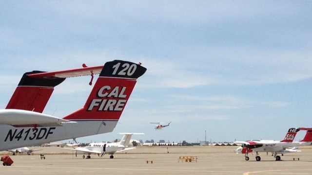 A Cal Fire helicopter takes off from McClellan Air Park on Monday (May 19, 2014).