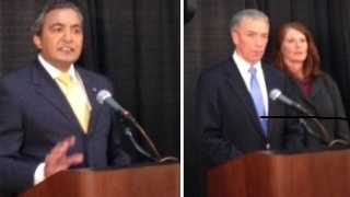 Congressman Ami Bera is at left, and his Republican challenger Doug Ose is on the right (Oct. 8, 2014).