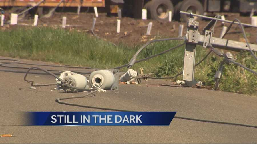 P G and E has been unable to restore power to hundreds of Stockton residents after a truck took out multiple power poles in an accident on Monday.