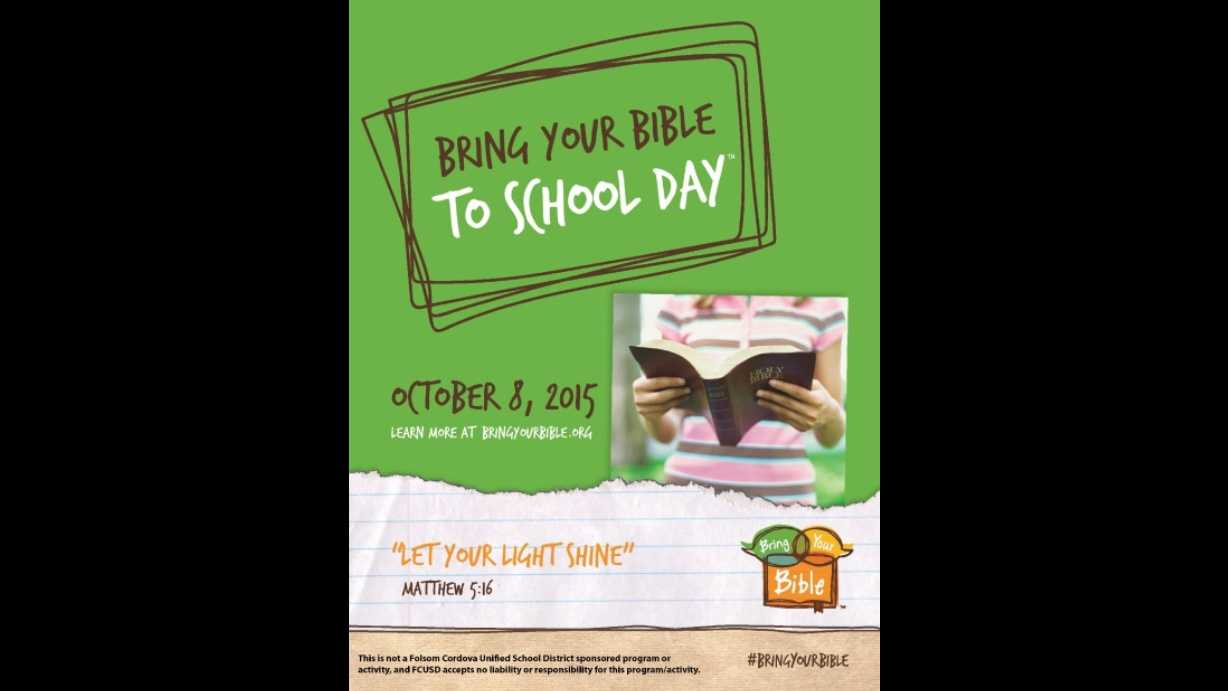 "The ""Bring Your Bible To School Day"" flier was sent out to students' families in October 2015. Parents raised concerns about the message of this and other fliers, prompting the school district to change its policy."