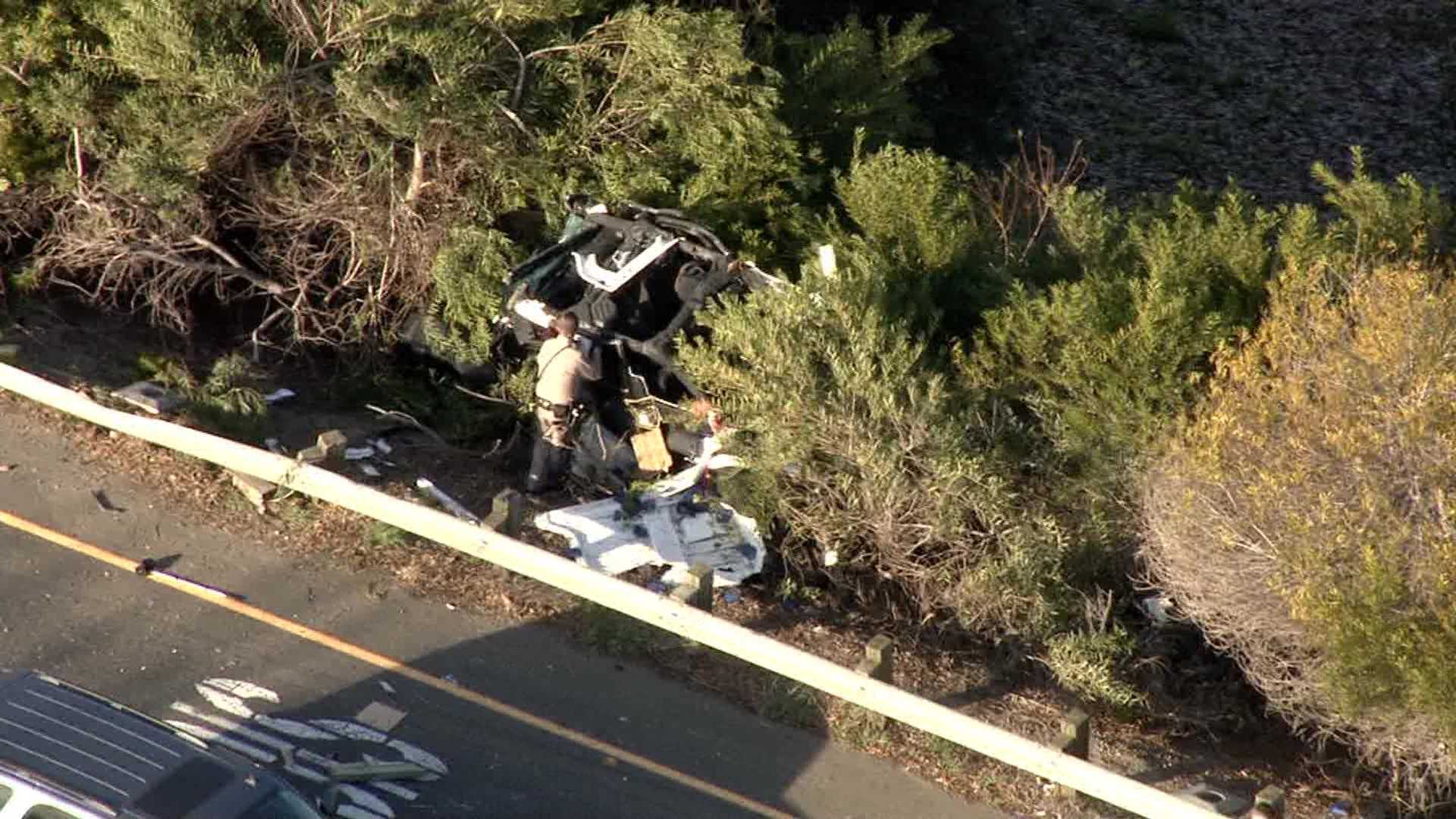 A SUV flipped over a guardrail at the Jack Tone Road off-ramp of Highway 99 on Tuesday, Feb. 23, 2016, after being hit by a suspect trying to evade officers.