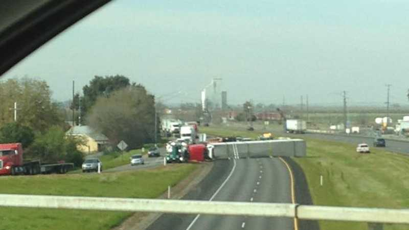 Photo shared by KCRA viewer Cherise N Noble shows a big rig overturned on Interstate 5 in Zamora, California, on Friday, Feb. 26, 2016.