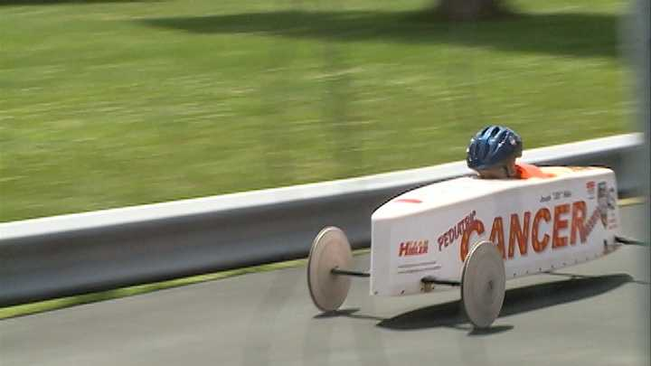 Joe Hibler was diagnosed with cancer a year ago, but it didn't stop him from competing in the All American Soap Box Derby on Saturday.