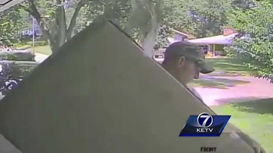 A man steals a package from someone's property and it was all caught on camera.