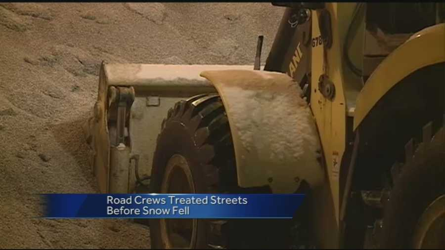 Fayetteville road crews got behind Monday night when snow began to fall during rush hour.