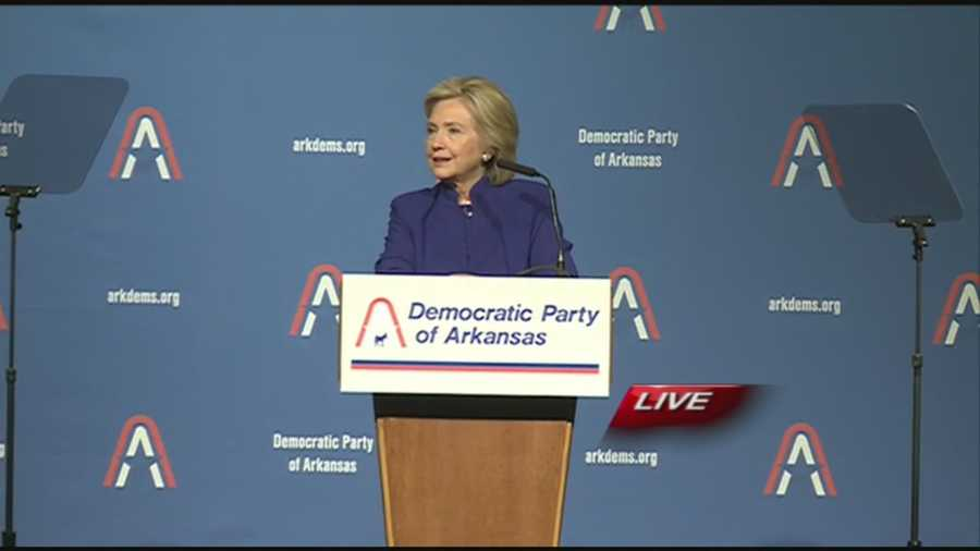 Hillary Clinton speaks at a fundraiser dinner for the Democratic Party in Arkansas.