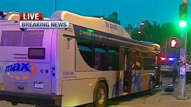 Police said eight people suffered injuries, none life-threatening, after a crash between a car and a Kansas City bus late Thursday. KMBC 9's Haley Harrison reports.
