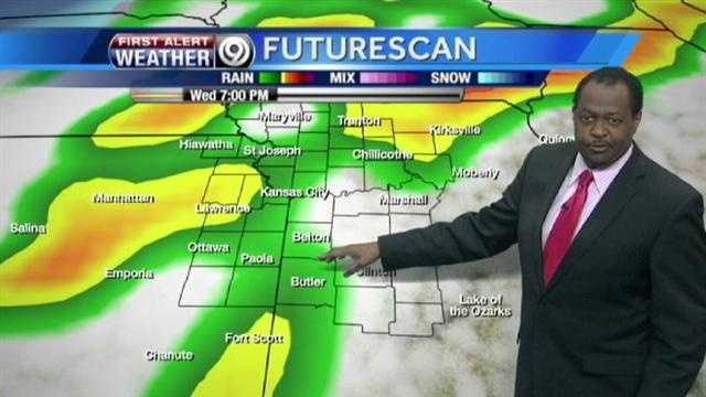 KMBC 9 chief meteorologist Bryan Busby says two rounds of potentially severe storms will move through the area starting early Wednesday and returning later in the day.