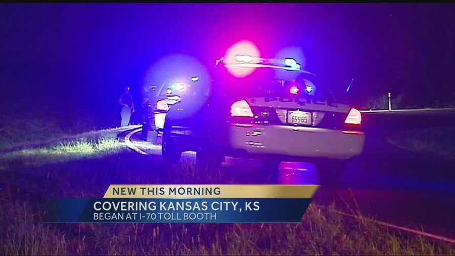 Two people were found in the trunk of a car after a police chase that stretched from Topeka to Kansas City, Kan., ended on I-70.