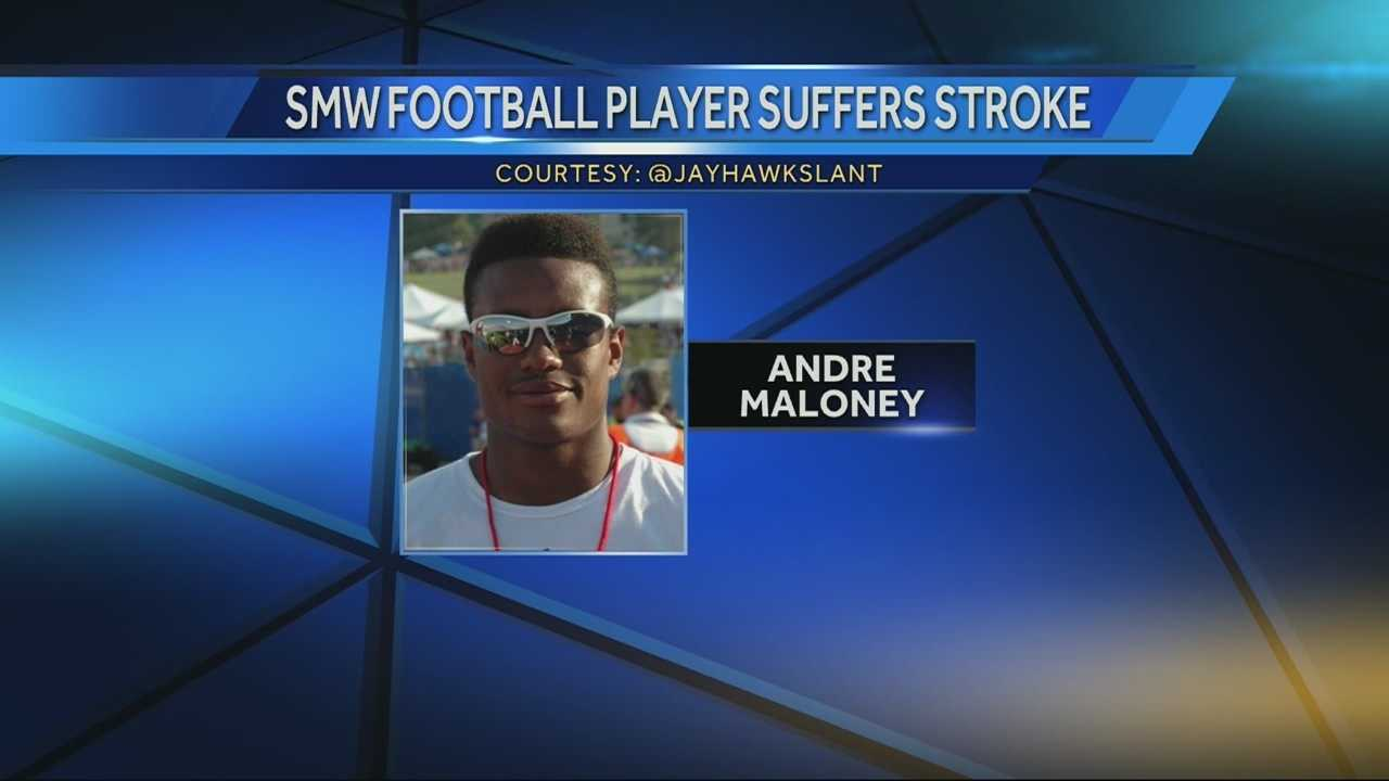 A standout high school football player at Shawnee Mission West High School suffered a stroke during Thursday night's football game.