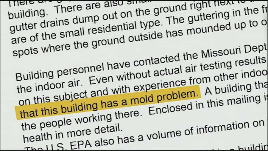 A persistent mold problem at an Odessa, Mo., city building has employees concerned for their health.
