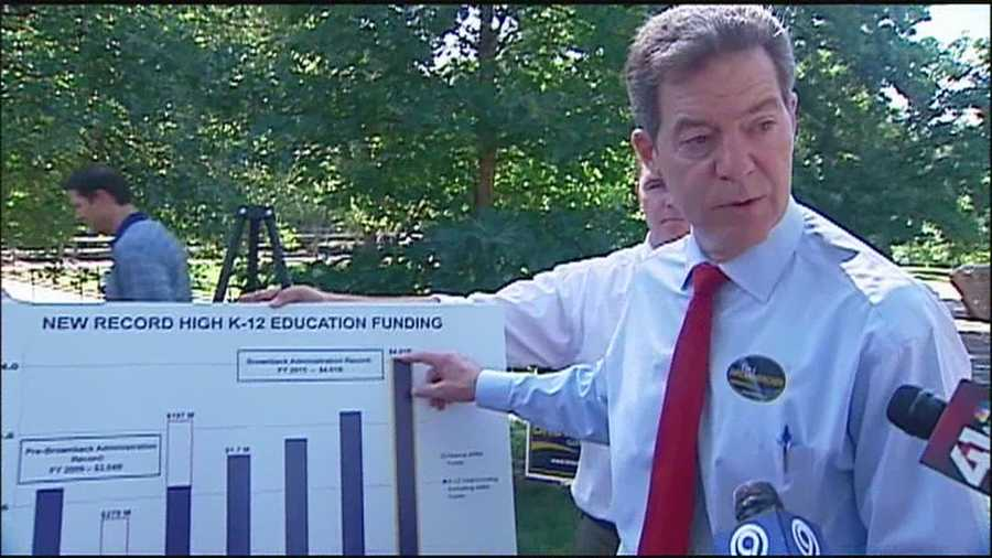 Kansas Gov. Sam Brownback focused on education during a campaign swing through Johnson County, saying that education spending is currently at a record high in Kansas.