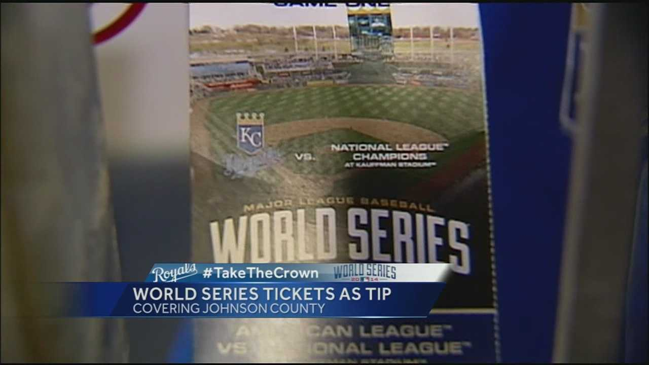 A server at a Johnson County, Kan., restaurant got the tip of a lifetime on Tuesday when the family of a Kansas City Royals player gave him a ticket to World Series Game 1.