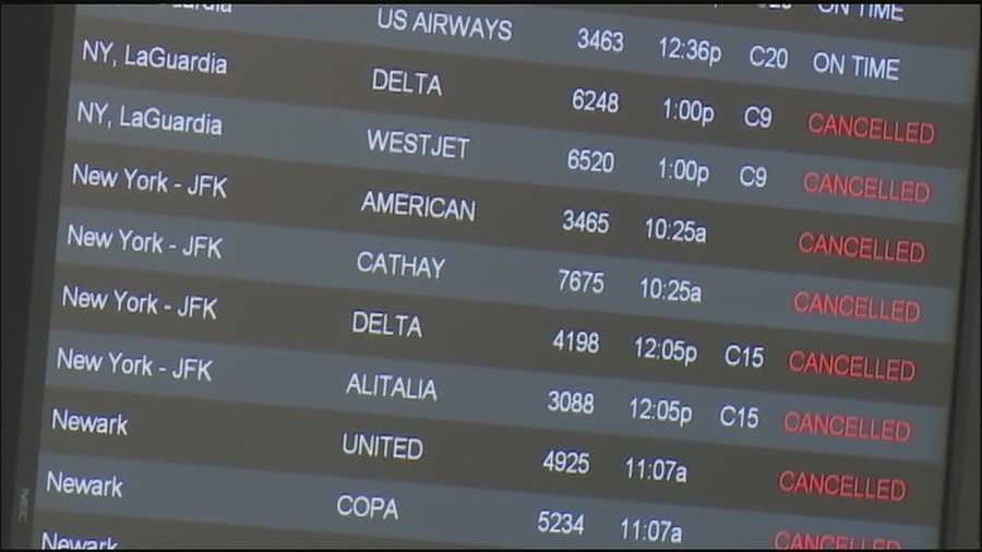The monster winter storm hitting the northeastern United States has resulted in the cancellation of thousands of flights, including some at Kansas City International Airport.