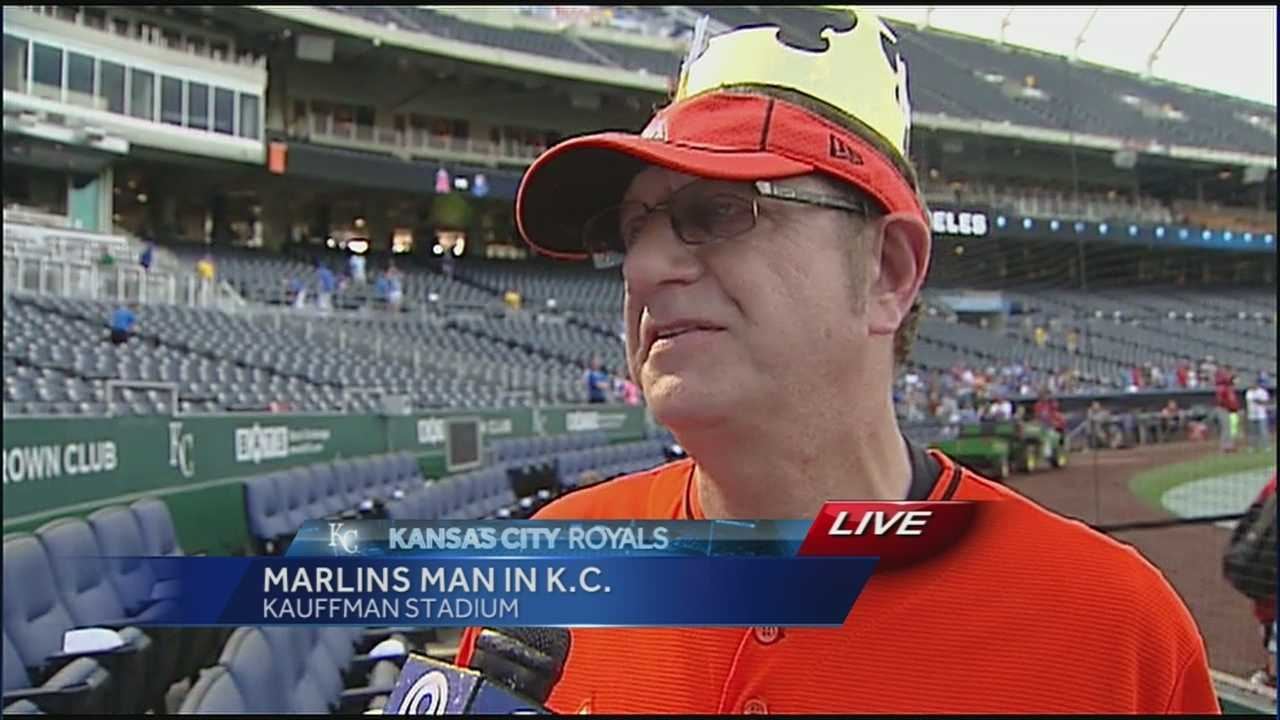 'Marlins Man,' a fan who became famous for attending World Series games at Kauffman Stadium last year says he admires the Kauffman Stadium tailgating scene and says Kansas City fans have something over their counterparts in St. Louis.