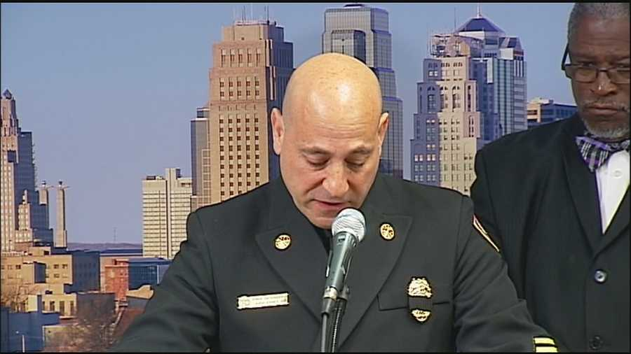 Gripped with grief and emotion, Kansas City Fire Chief Paul Berardi announces the names of the firefighters who died in Monday's apartment fire and building collapse.