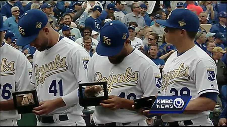 Before the Royals took on the New York Mets Tuesday afternoon at Kauffman Stadium, they received their rings for winning the World Series last fall.