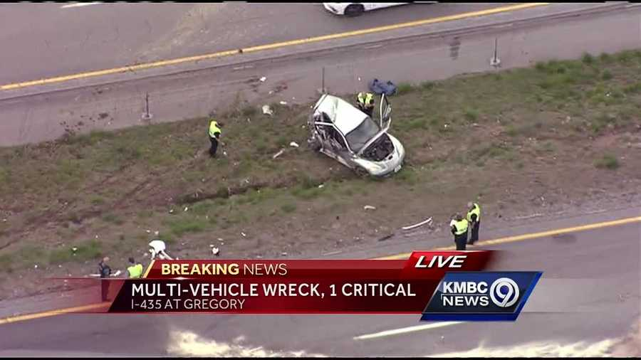 One person was critically injured in a crash on Interstate 435 near Gregory Boulevard that has slowed rush hour traffic in the area.