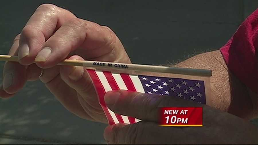 A large bag of miniature U.S. flags that were made in China were given out at a hospital for veterans earlier this week.