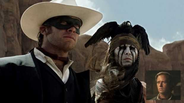 Armie Hammer and Johnny Depp in 'The Lone Ranger' (inset -- Hammer unmasked)Walt Disney Pictures