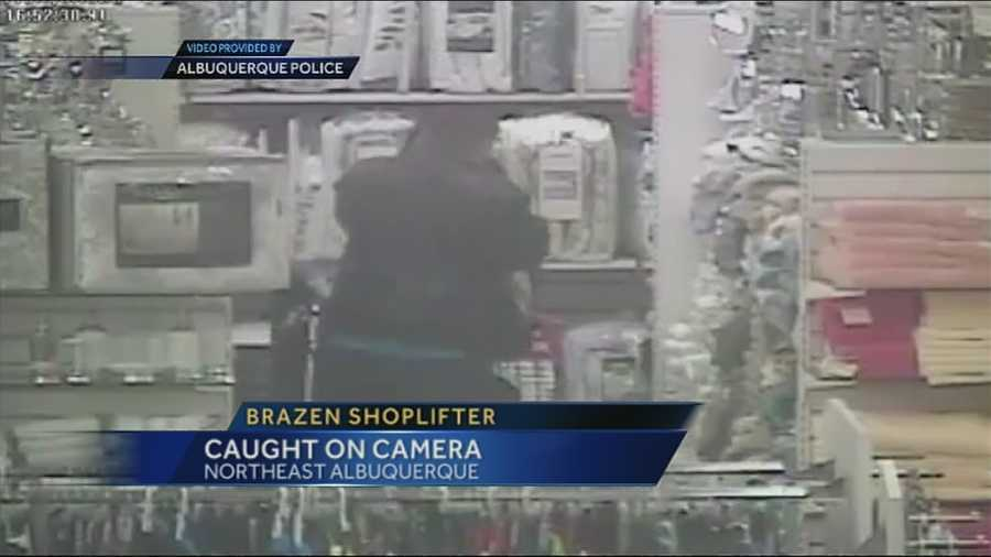 A shoplifter who police said has been stealing pricey purses has been caught on camera.