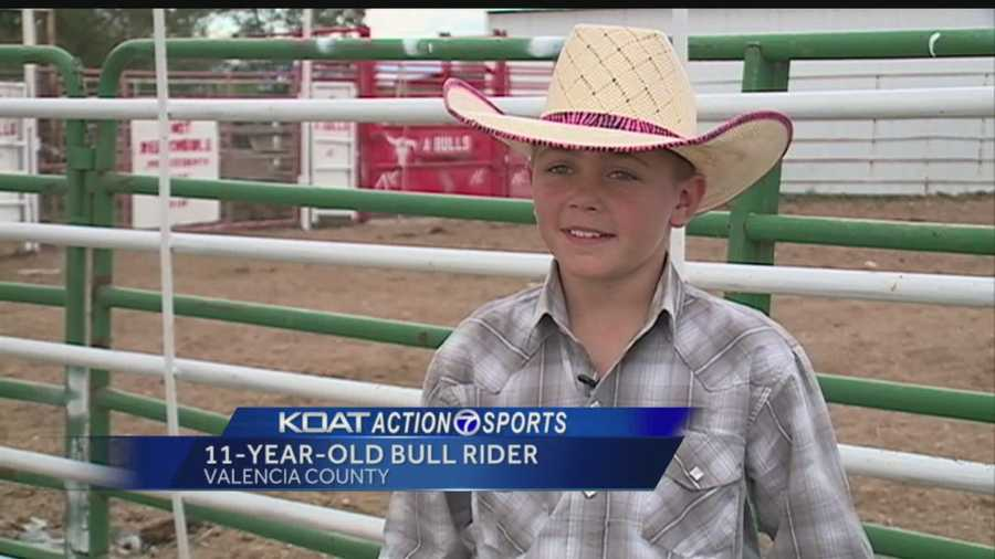 He's 11 years old, he's from New Mexico and he's about to compete in the Miniature Bull Riding World Finals.