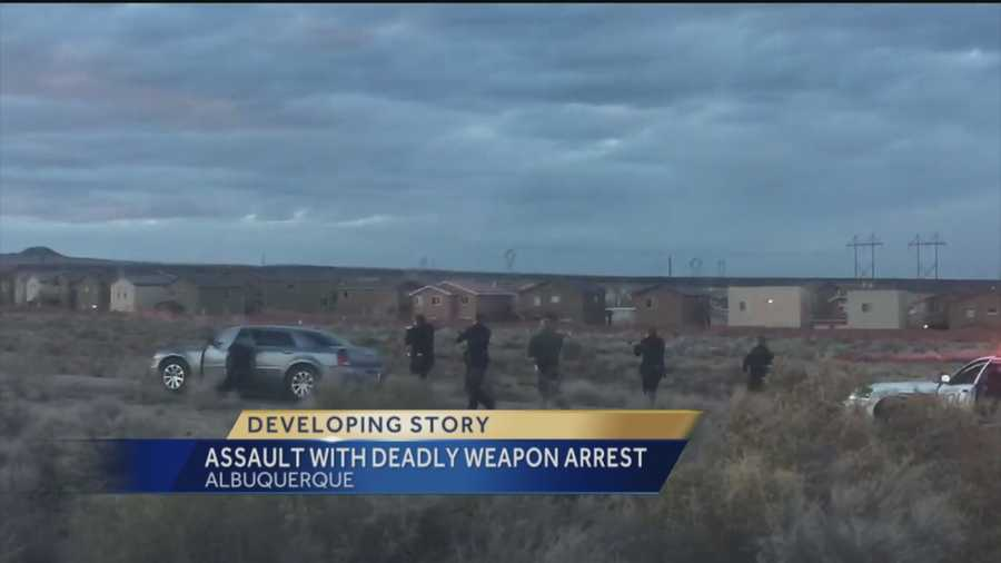 Albuquerque police said at least one man was arrested Sunday for aggravated assault with a deadly weapon.