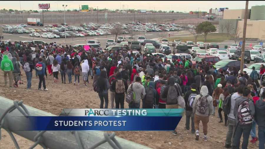 Students across New Mexico walked out of class in response to PARCC testing that began Monday.