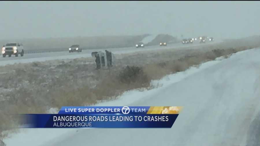 New Mexico's most severe snow storm is causing car accidents across Albuquerque.