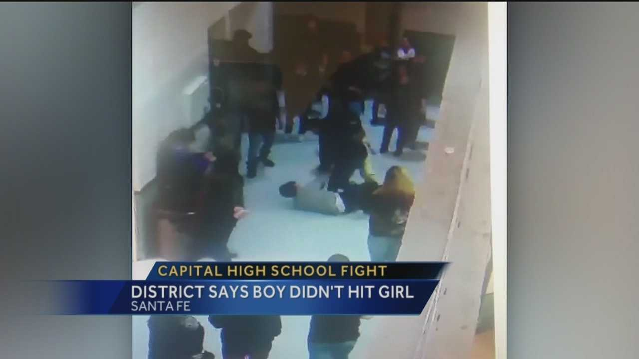 A teenage girl hospitalized after a fight with a boy at Capital High School in Santa Fe instigated the fight and he never hit her as she claimed, a school district investigation concluded.