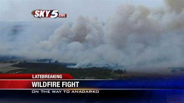 A wildfire southwest of Oklahoma City on Monday has thick, thick plumes of smoke climbing the sky. The fire is near the city of Anadarko but, so far, isn't affecting the city.