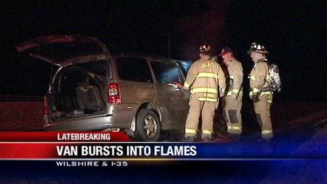 A woman escapes her van as it burst into flames while she was driving down I-35.