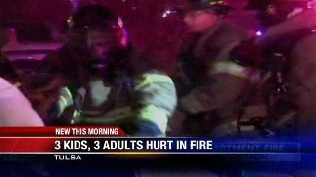 Six people, three of which are children, are in a Tulsa hospital Wednesday morning after an apartment complex fire.